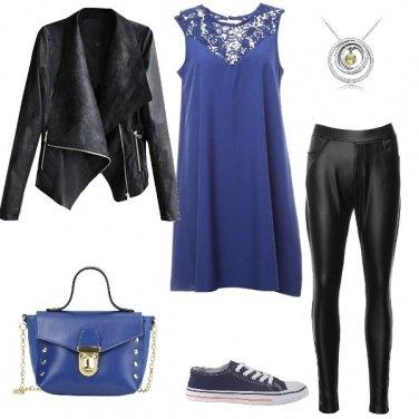 Outfit Urban style in blu e in nero