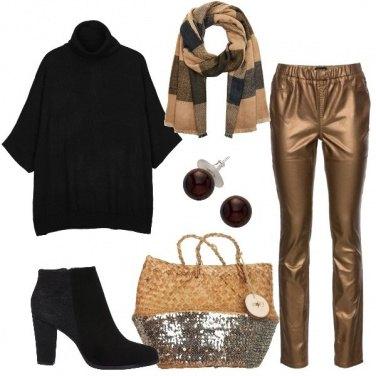 Outfit La borsa di paglia e paillettes