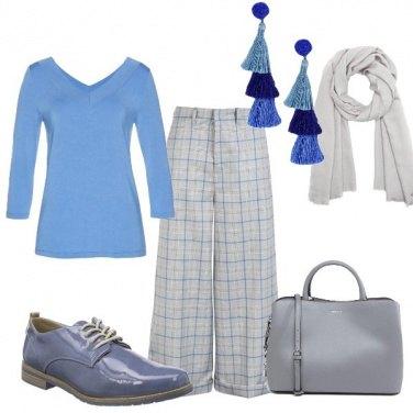 Outfit Quadri in grigio blu