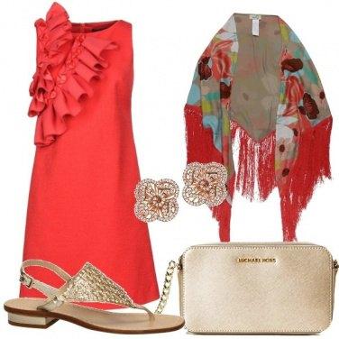 Outfit Cerimonia in sandalo flat