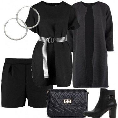 Outfit Total black di mezza stagione