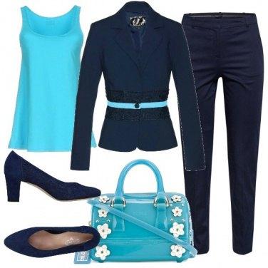 Outfit Blu e turchese per l\'ufficio