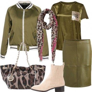 Outfit Tendenze animalier e verde militare