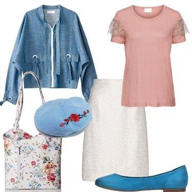 Outfit Azzurro e fiori