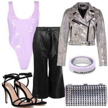 Outfit Lilla e argento