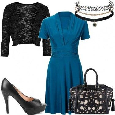 Outfit Il vestito color petrolio