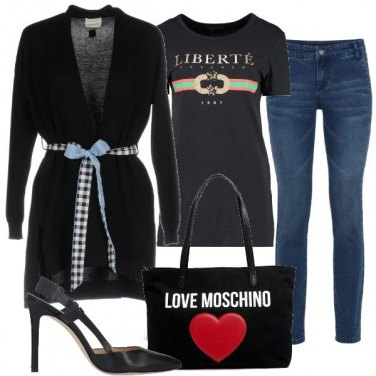 Outfit T-shirt e cardigan