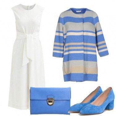Outfit In bianco e celeste