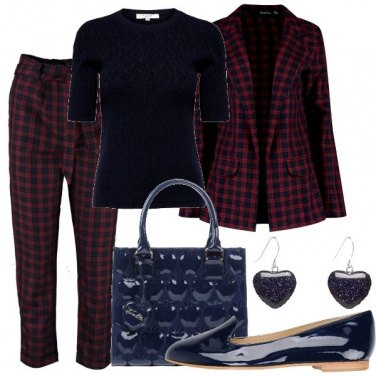 Outfit Quadretti blu e bordeaux