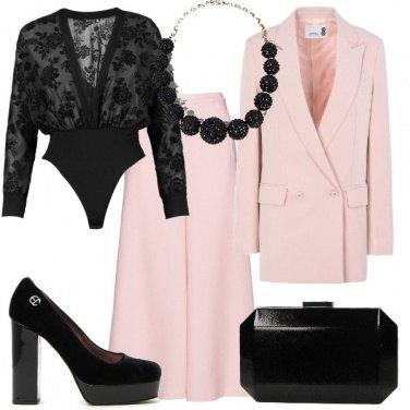 Outfit L'eleganza del nero e rosa