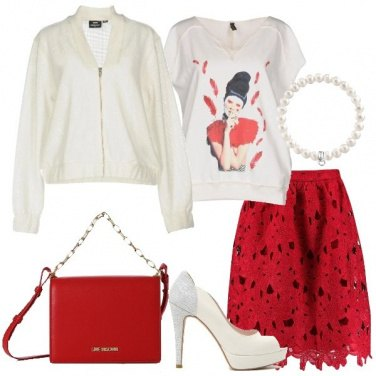 Outfit Gonna in pizzo crochet rosso