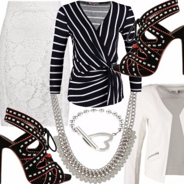Outfit Cerimonia in righe