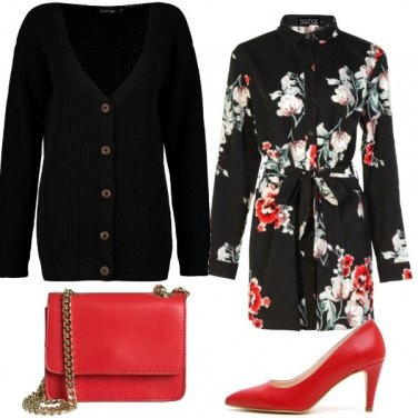 Outfit Cardigan e rosso