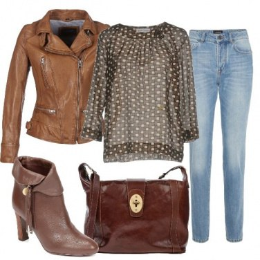 Outfit Chiodo cuoio