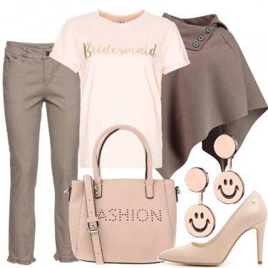 Outfit Il rosa con il marrone