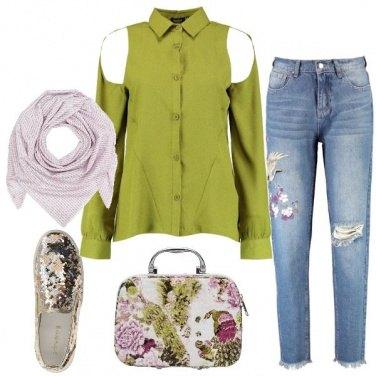 Outfit La camicia verde cut out