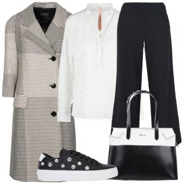 Outfit Microfantasie in bianco e nero