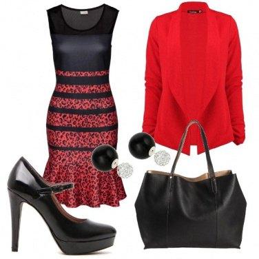 Outfit Animalier in nero e rosso