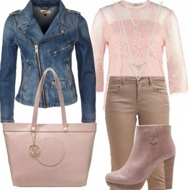 Outfit Rosa, beige e jeans!