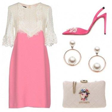 Outfit Cerimonia in bianco e rosa