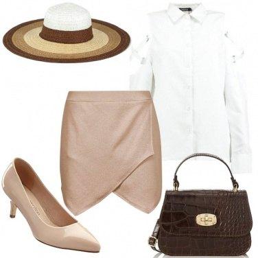 Outfit Marrone, beige e bianco