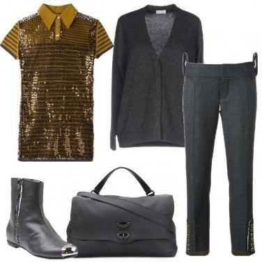 Outfit Grigio e senape
