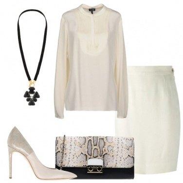Outfit Pencil skirt e blusa in seta