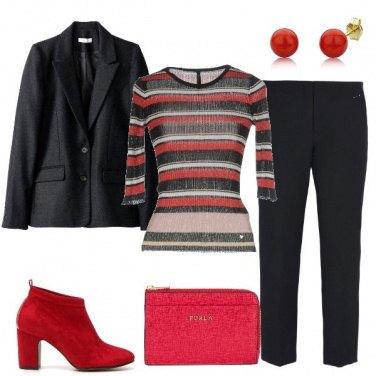 Outfit Rosso e nero in ufficio