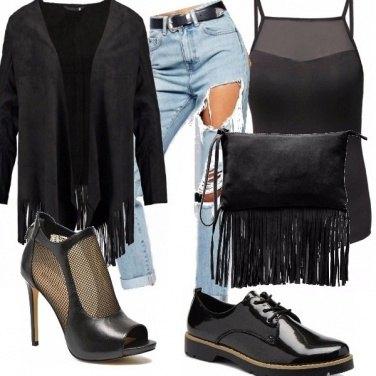 Outfit Donna dark e frange