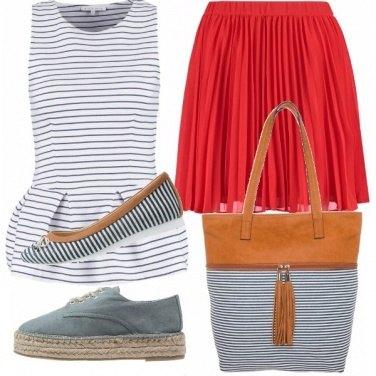 Outfit Rosso e righe