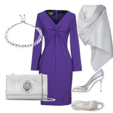 Outfit Cerimonia in viola ed argento