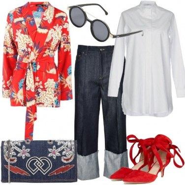 Outfit Trendy in jeans e kimono