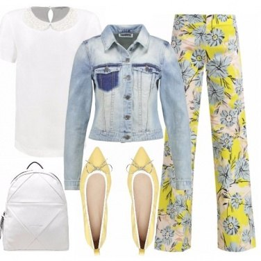 Outfit Flower pants and denim bleach