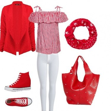 Outfit Bianco e rosso