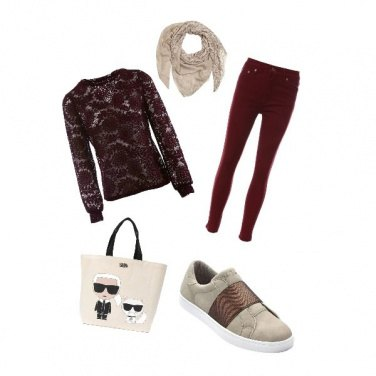 Outfit Bordeaux casual