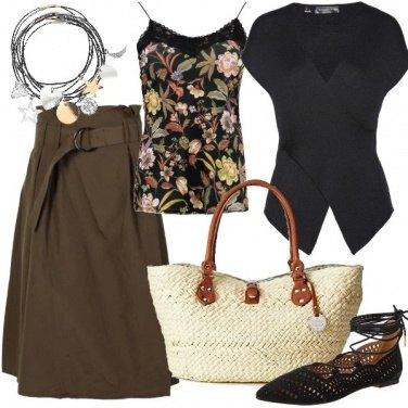Outfit La borsa in fibre naturali e mood etnico