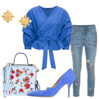 Outfit Jeans e blusa a portafoglio
