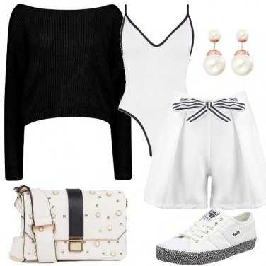Outfit Sporty chic in bianco e nero