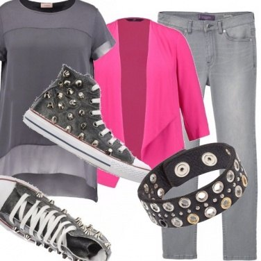 Outfit Hot pink e borchie - curvy style -