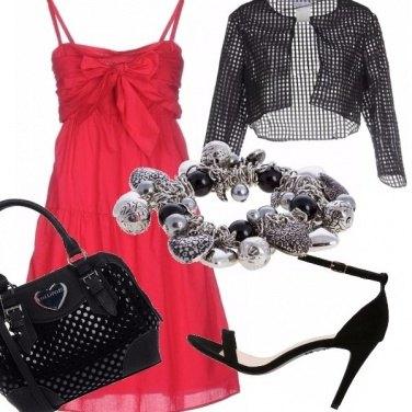 Outfit Frivolezza in rosso e nero