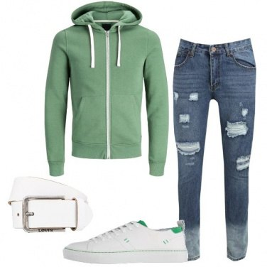 Outfit Bianco, verde e jeans