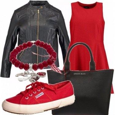 Outfit Rosso di pomeriggio