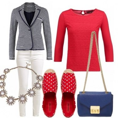 Outfit Pois, righe e perle