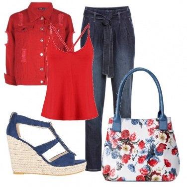 Outfit Jean con rosso e blu