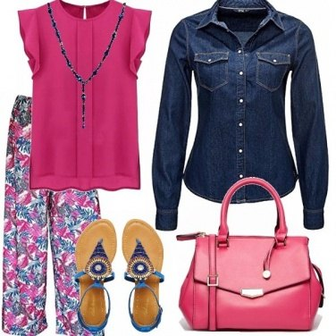 Outfit Fucsia & jeans