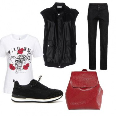Outfit Nero-rosso