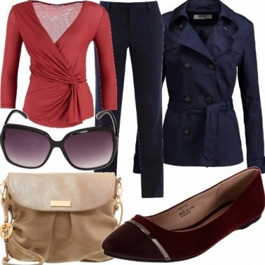 Outfit Red and blue with a touch of beige