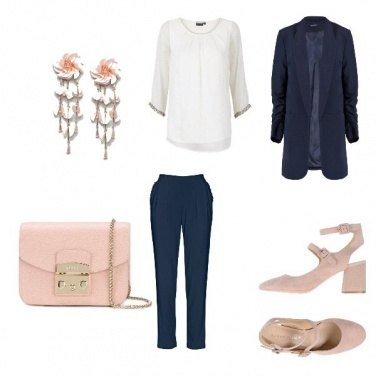 Outfit Blu in rosa