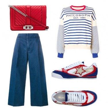 Outfit Bianco, rosso e bluette