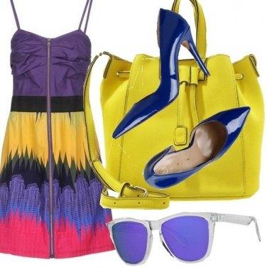 Outfit Viola e giallo